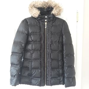 Juicy Couture black ruffle front puffer jacket S